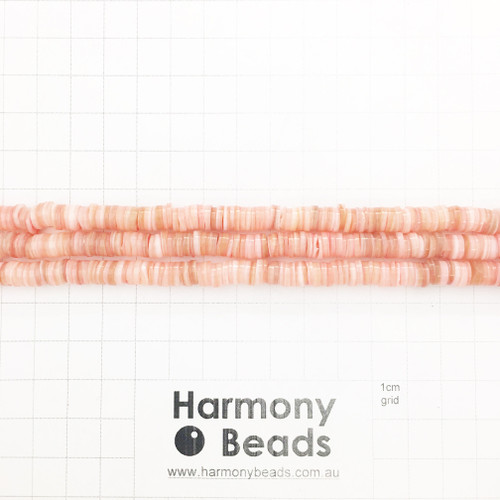 Freshwater Shell Heishi Flat Round Disc Beads, Natural, Dyed, Rose Pink, 6x1mm