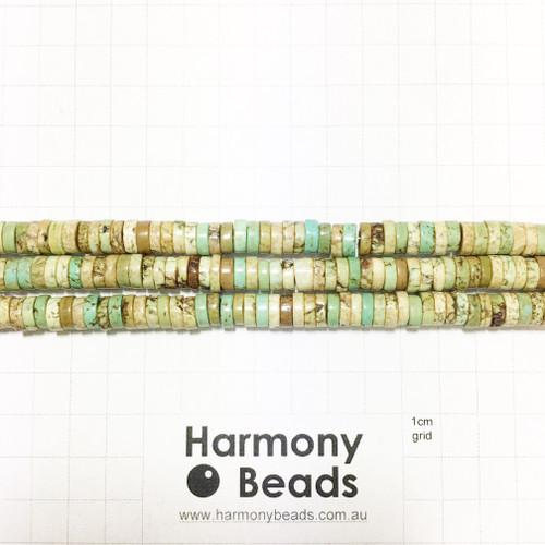 HOWLITE Heishi Flat Disc Spacer Beads, GREEN TURQUOISE, 8x3mm