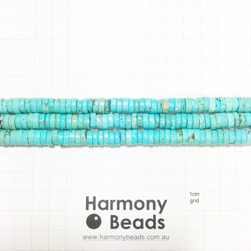 HOWLITE Heishi Flat Disc Spacer Beads, BLUE TURQUOISE, 8x3mm