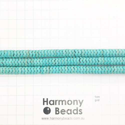 HOWLITE Heishi Zigzag Spacer Beads, AQUA TURQUOISE, Synthetic, 8x4mm