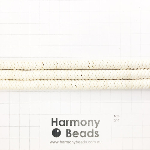 HOWLITE Heishi Zigzag Spacer Beads, CREAM WHITE, Synthetic, 8x4mm