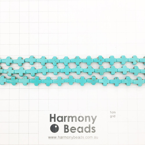HOWLITE Shaped Beads, Small Cross, BLUE TURQUOISE, Synthetic, 8x10mm