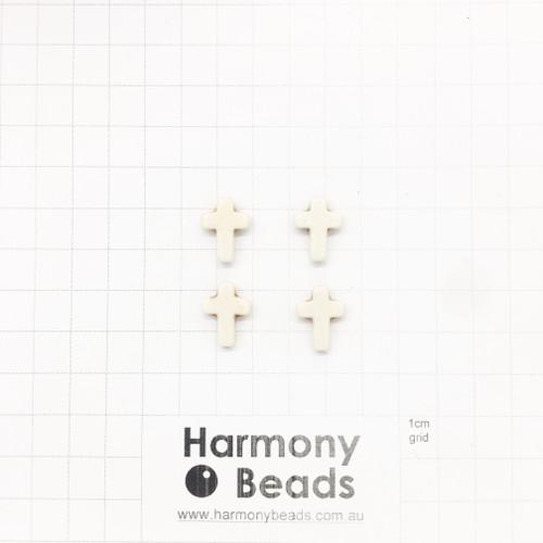 HOWLITE Cross Shaped Beads, 12x16mm, CREAM WHITE