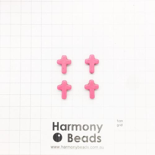 HOWLITE Cross Shaped Beads, 12x16mm, HOT PINK