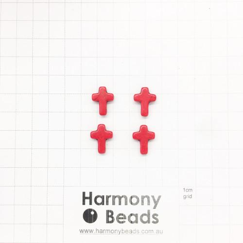 HOWLITE Cross Shaped Beads, 12x16mm, RED