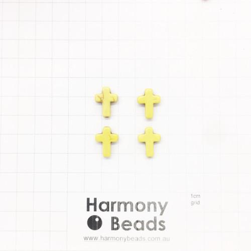 HOWLITE Cross Shaped Beads, 12x16mm, YELLOW