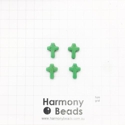 HOWLITE Cross Shaped Beads, 12x16mm, GREEN