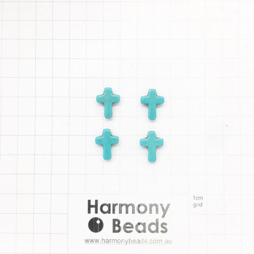 HOWLITE Cross Shaped Beads, 12x16mm, AQUA TURQUOISE