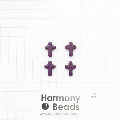 HOWLITE Cross Shaped Beads, Dyed, 12x16mm, PURPLE