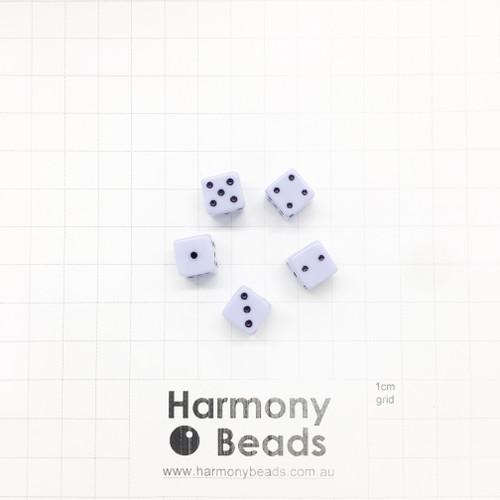 Acrylic Plastic Dice Beads - 10mm - PASTEL LAVENDER PURPLE