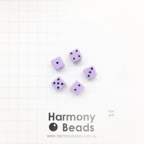 Acrylic Plastic Dice Beads - 10mm - PASTEL LILAC PURPLE