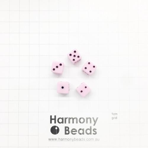 Acrylic Plastic Dice Beads - 10mm - PASTEL LIGHT PINK