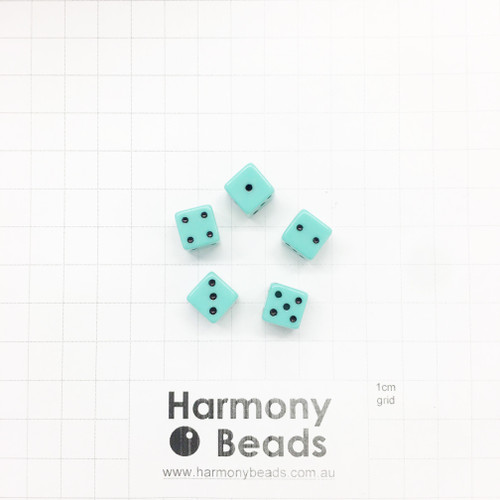 Acrylic Plastic Dice Beads - 10mm - PASTEL TURQUOISE MINT
