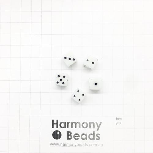 Acrylic Plastic Dice Beads - 10mm - MILKY WHITE