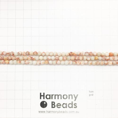 Red Netstone Smooth Round Beads, Natural, 4mm