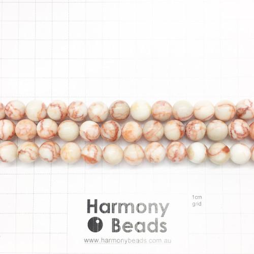 Red Netstone Smooth Round Beads, Natural, 10mm