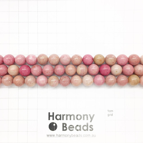 Rhodonite Smooth Round Beads, Natural, Pink, 10mm