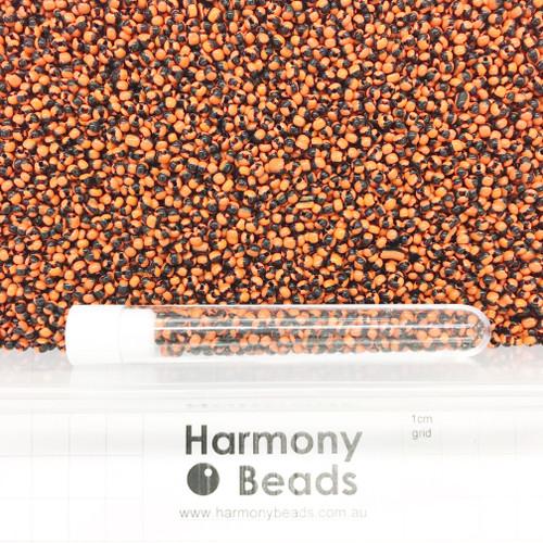 STRIPED Glass Seed Beads 8/0 Orange & Black Striped