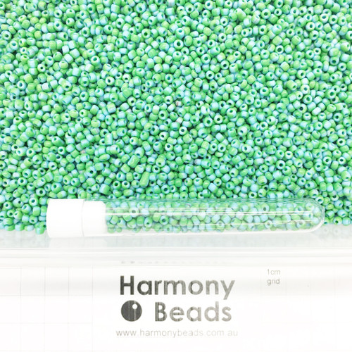 STRIPED Glass Seed Beads 8/0 Sky Blue & Green Striped