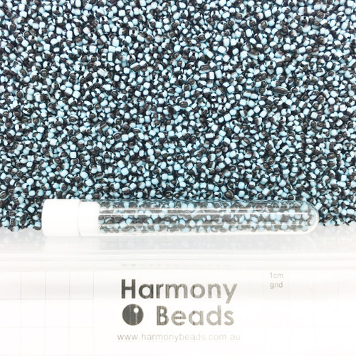 STRIPED Glass Seed Beads 8/0 Sky Blue & Black Striped