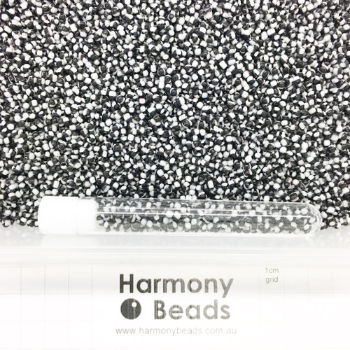 STRIPED Glass Seed Beads 8/0 Black & White Striped