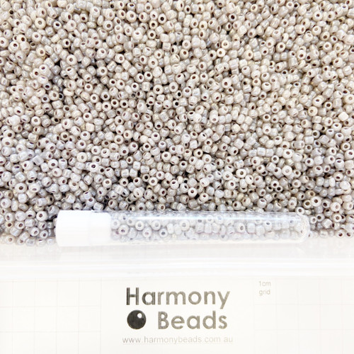 Glass Seed Beads 8/0 Warm Grey Ceylon Pearlescent