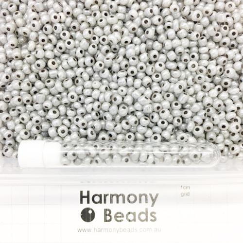 Glass Seed Beads 6/0 Grey Ceylon Pearlescent