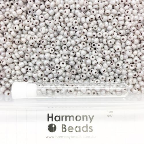 Glass Seed Beads 6/0 Warm Grey Ceylon Pearlescent