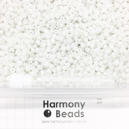 Glass Seed Beads Size 6/0 (approx. 4mm) White Ceylon Pearlescent