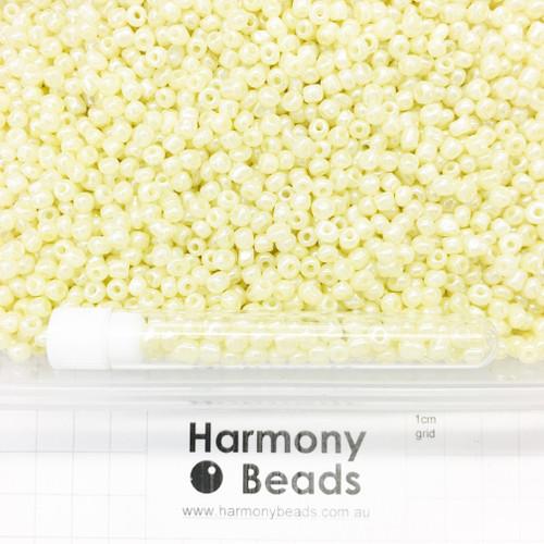 Glass Seed Beads Size 6/0 (approx. 4mm) Lemon Chiffon Ceylon Pearlescent