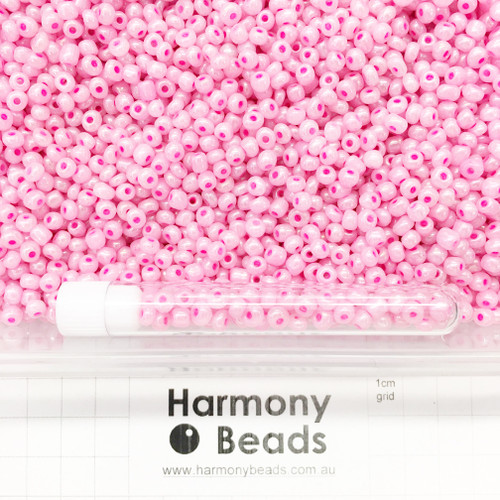 Glass Seed Beads Size 6/0 (approx. 4mm) Pink Bright Barbie Ceylon Pearlescent
