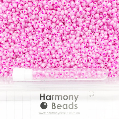 Glass Seed Beads Size 6/0 (approx. 4mm) Pink Ceylon Pearlescent