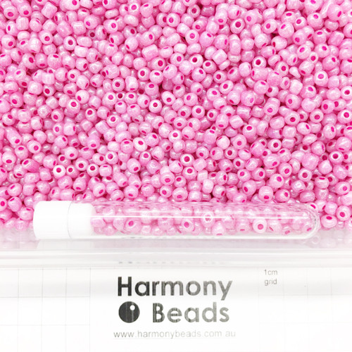 Glass Seed Beads Size 6/0 (approx. 4mm) Medium Orchid Ceylon Pearlescent