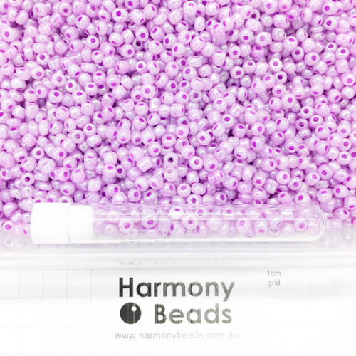 Glass Seed Beads Size 6/0 (approx. 4mm) Plum Pale Purple Ceylon Pearlescent