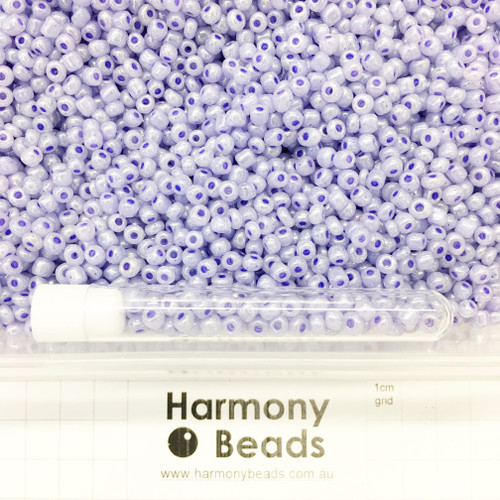 Glass Seed Beads Size 6/0 (approx. 4mm) Lilac Pale Purple Ceylon Pearlescent