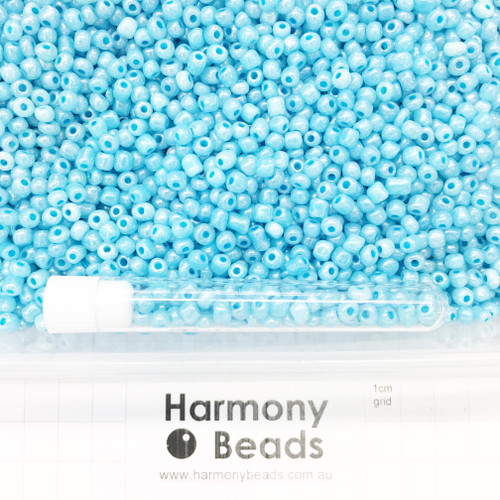 Glass Seed Beads Size 6/0 (approx. 4mm) Pale Turquoise Blue Ceylon Pearlescent