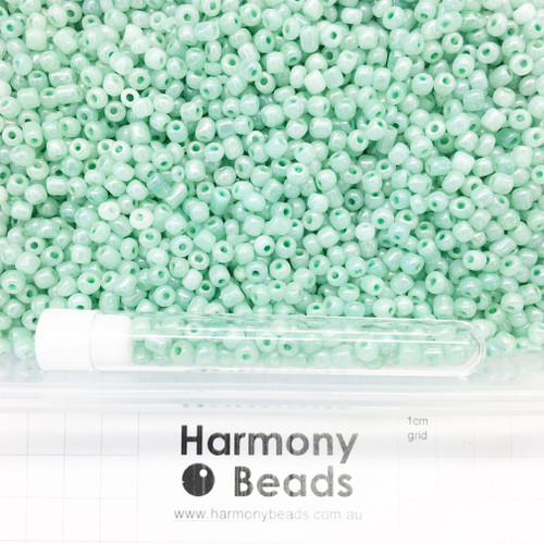 Glass Seed Beads Size 6/0 (approx. 4mm) Aqua Mint Ceylon Pearlescent