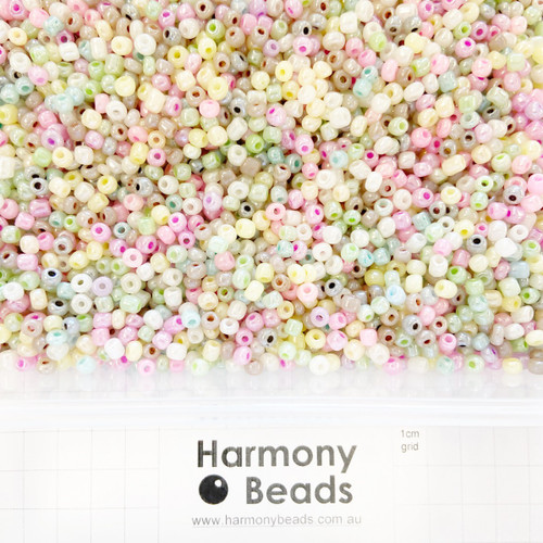 Glass Seed Beads Size 6/0 (approx. 4mm) Ceylon Pearlescent MIX 1