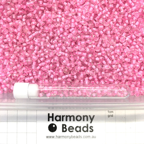 Glass Seed Beads Size 6/0 (approx. 4mm) Inside Colour-Lined Clear with Pink