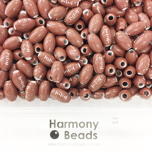Plastic Printed Beads Brown FOOTBALL FOOTY Beads ~9x15mm