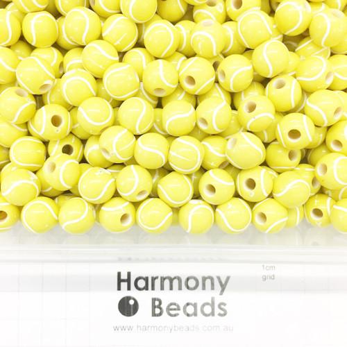 Acrylic Plastic Printed Beads Yellow TENNIS BALL Beads ~11x10mm