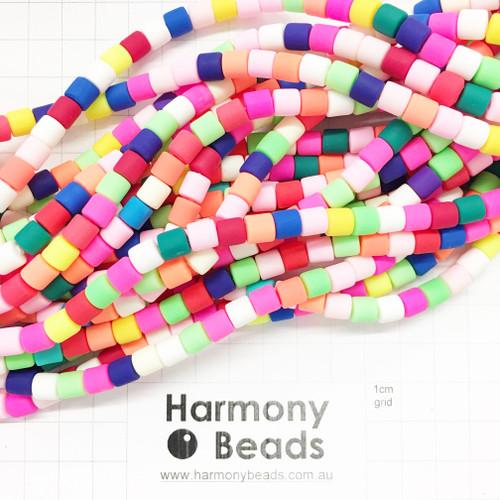 Polymer Clay Barrel Beads 6.5 x 6mm OPAQUE BRIGHT RAINBOW MIX