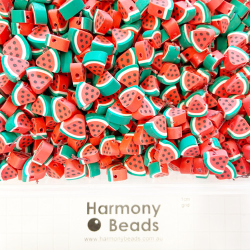 Polymer Clay Fruit Shaped Watermelon Beads 6~10mm RED WATERMELON SLICE