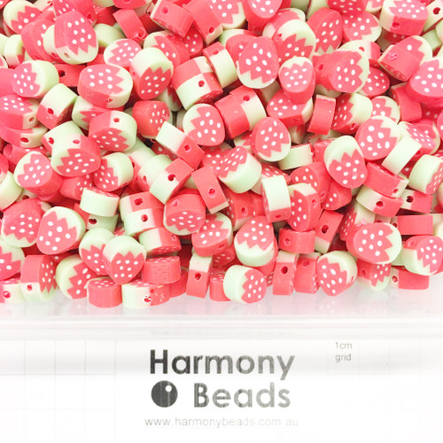 Polymer Clay Fruit Shaped Strawberry Beads 6~10mm RED STRAWBERRIES