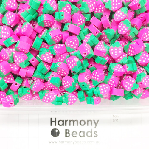 Polymer Clay Fruit Shaped Strawberry Beads 6~10mm PINK STRAWBERRIES