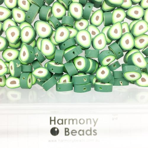 Polymer Clay Fruit Shaped Avocado Beads 8~12mm GREEN AVOCADOS