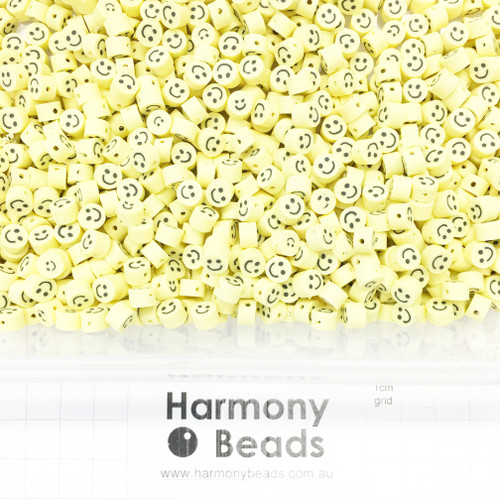 Polymer Clay Emoji Smile Face Beads 5-6mm YELLOW SMILEY FACE