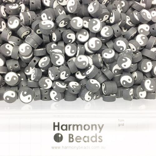 Polymer Clay Yin Yang Beads 9-10mm BLACK & WHITE YIN YANG
