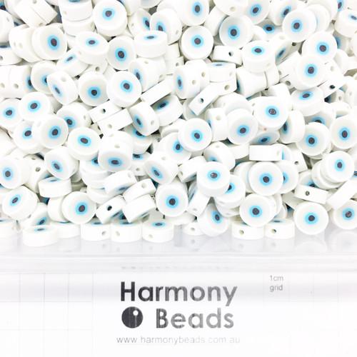 Polymer Clay Evil Eye Beads 9-10mm WHITE & BLUE EVIL EYES