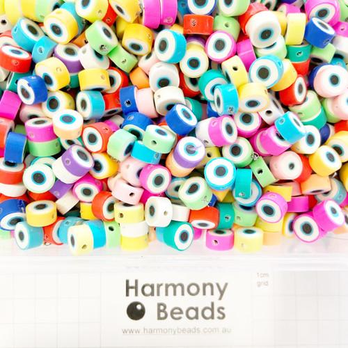 Polymer Clay Evil Eye Beads 9-10mm RANDOM MIXED COLOURS